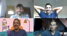 Five guys in an online meeting discussing sponsorship and smiling